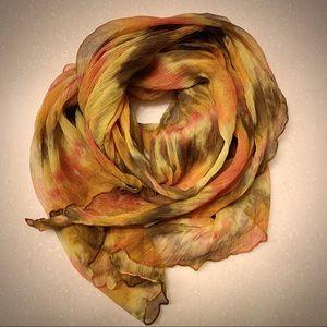 100% Silk Semi Sheer Multicolor Fashion Scarf